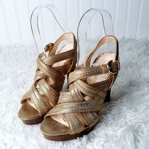 Coach Metallic Bronze/Gold Brynne Leather Heels